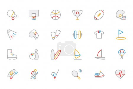 Sports Colored Outline Vector Icons 1