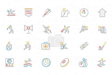 Sports Colored Outline Vector Icons 7