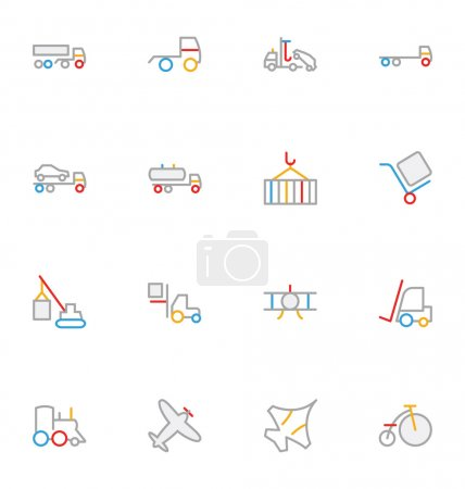 Transport Colored Outline Vector Icons 4
