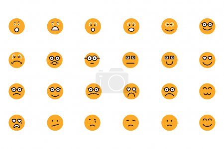 Illustration for Because the words are not enough, tell your friends and family how do you feel or what you think with this set of smiley icons. Do you feel happy, angry, surprised? Say it with a image. Enjoy! - Royalty Free Image