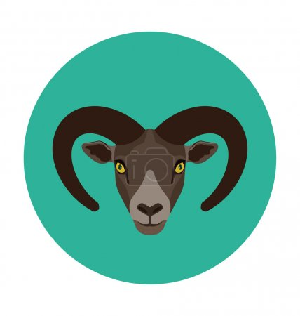 Mountain Goat Flat Icon Illustration