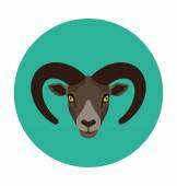 Mountain Goat Flat Icon Illustration