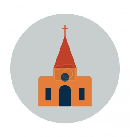 Chapel Colored Vector Illustration