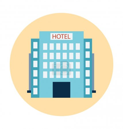 Illustration for Buildings flat colored icons. - Royalty Free Image