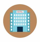 Hotel Building Colored Vector Illustration