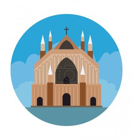 Church Colored Vector Illustration