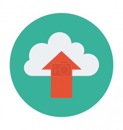 Cloud Upload Colored Vector Illustration