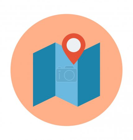 Map Location Colored Vector Illustration