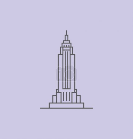 Empire State Building colored Vector Illustration