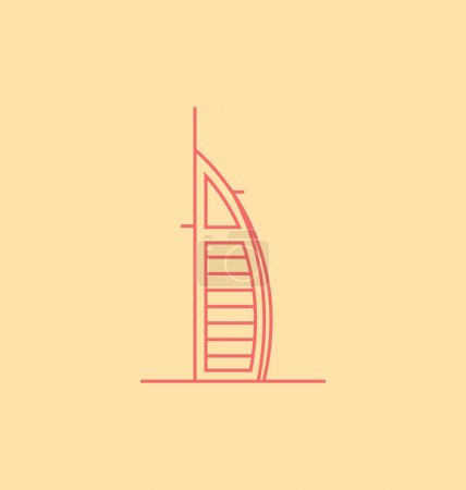 Burj Al Arab colored Vector Illustration