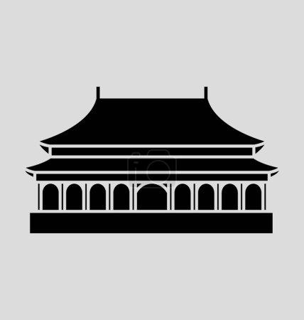 Forbidden City Solid Vector Illustration