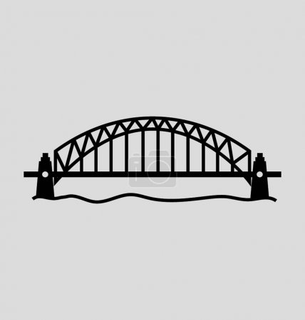 Sydney Harbour Bridge Solid Vector Illustration