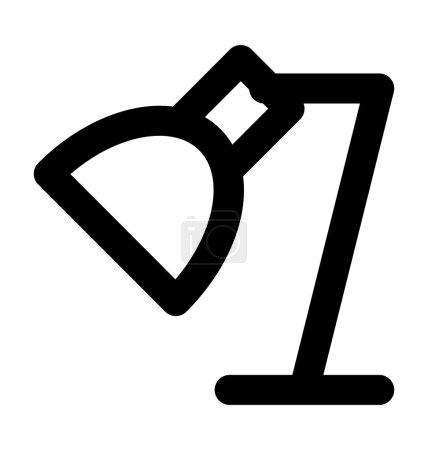 Icône vectorielle de ligne audacieuse de lampe d'angle