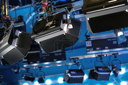 Professional lamp spotlights in a television studio
