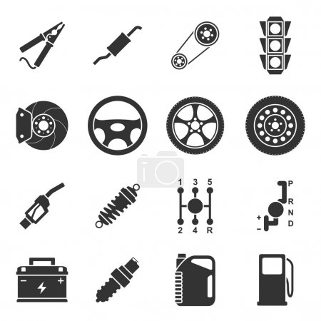 Illustration for Set of black and white silhouette icons of car parts - Royalty Free Image