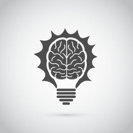 Illustration pour Photo d'ampoule en forme de cerveau humain, idée, créativité, concept d'innovation - image libre de droit