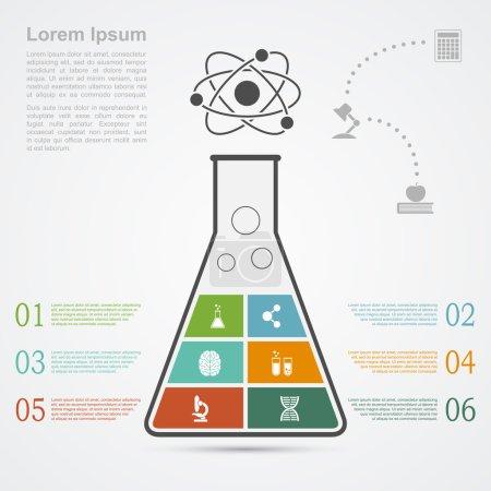 Photo pour Modèle infographique avec silhouette de fiole et icônes, science, recherche, concept de développement - image libre de droit