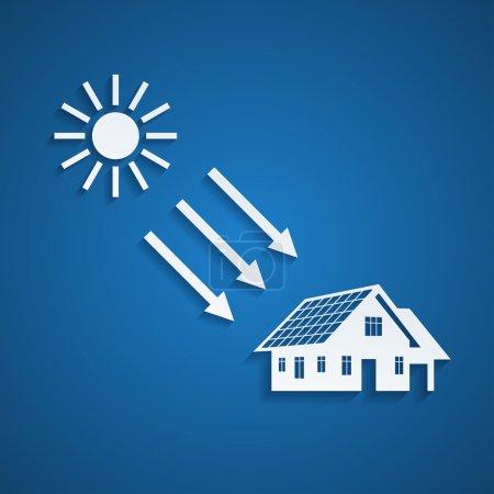Illustration pour Photo d'une silhouette de maison avec panneaux solaires sur le toit et le soleil, concept d'énergie alternative - image libre de droit