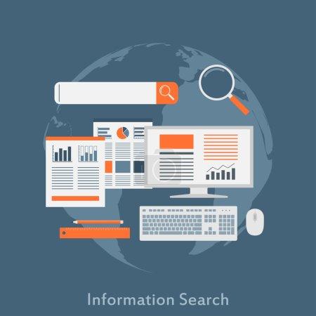 Illustration pour Un concept d'illustration de style plat pour la recherche d'informations, l'optimisation SEO, la recherche analytique sur le Web - image libre de droit