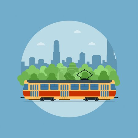 Illustration for Picture of a tram in front of the trees and big sity silhouette - Royalty Free Image