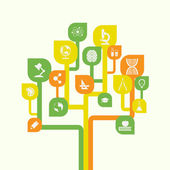 Pictyre of stylized tree with icons education knowledge science concept