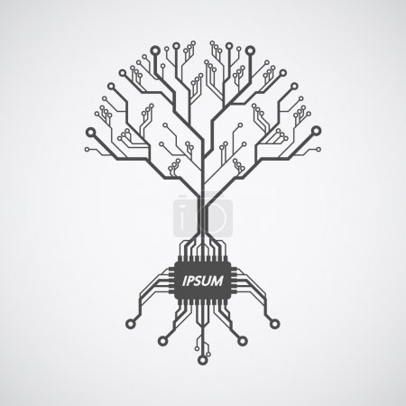 Illustration for Picture of a circuit board pattern infom of a tree with roots formed with chip - Royalty Free Image