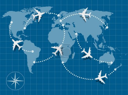 Illustration for Picture of world map with flying planes on it - Royalty Free Image