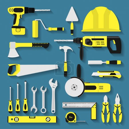 Illustration pour Ensemble d'icônes d'outil de réparation et de costruction, illustration de style plat - image libre de droit