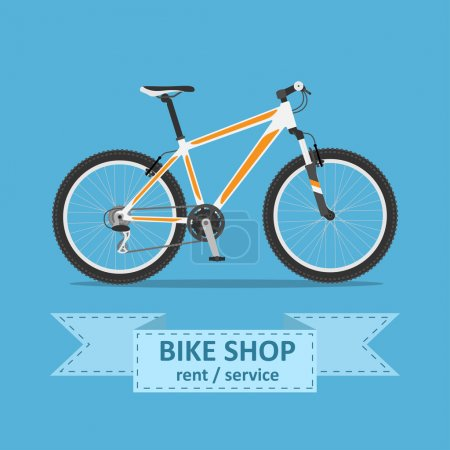 Illustration for Picture of a mountain bicycle , flat style illustration - Royalty Free Image