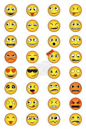 Illustration for Set of smiley faces with different emotions - Royalty Free Image