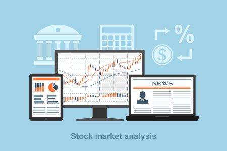 Illustration pour FLACT concept de style pour le concept d'analyse de marché boursier, concept de trading en ligne, forex concept - image libre de droit