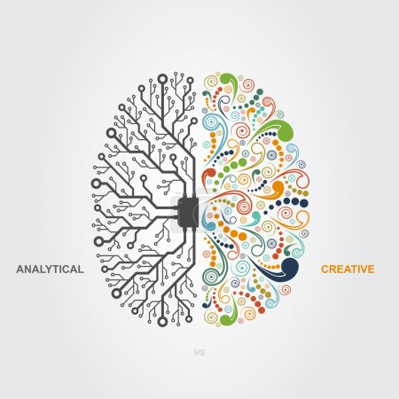 Illustration for Left and right brain functions concept, analytical vs creativity - Royalty Free Image