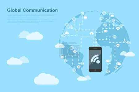 Illustration for Picture of human hand with mobile phone linked to the points around the world, global communication concept, flat style illustration - Royalty Free Image