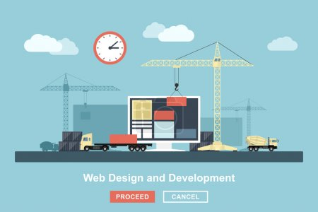 Illustration for Flat style concept for web design working process, metaphorical representation of web design workflow like industrial construction with lifting cranes, trucks etc. - Royalty Free Image