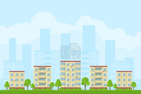 Illustration for Picture of city landscape with panel houses, flat style concept for product promotion and advertising - Royalty Free Image