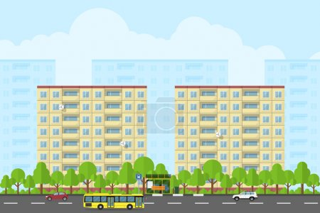Photo for Picture of city landscape with panel houses, road, bas stop, bus and cars, flat style concept for product promotion and advertising - Royalty Free Image
