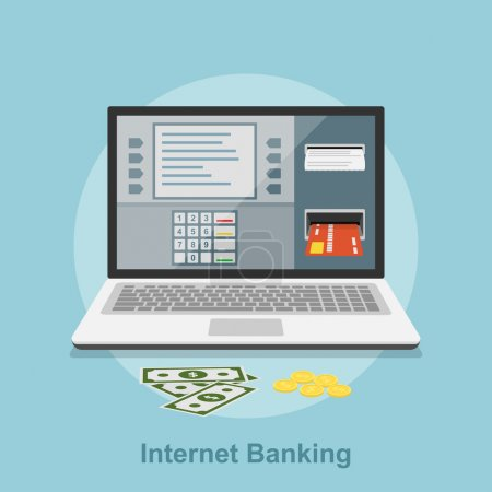 Illustration for Picture of notebook with atm interface on its screen, flat style concept for internet banking, online payment concept - Royalty Free Image