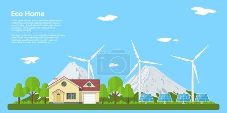 Illustration pour Photo d'une maison privée, panneaux solaires et éoliennes avec des montagnes sur le fond, concept de style plat d'éco-maison, énergie renouvelable, écologie - image libre de droit