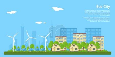 Illustration pour Éco-ville verte avec maisons privées, maisons de panneaux, éoliennes et panneaux solaires, concept de style plat pour les énergies renouvelables et les écotechnologies - image libre de droit