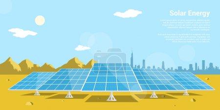 Illustration pour Photo de batteries solaires dans un désert avec des montagnes et une silhouette de grande ville sur le fond, concept de style plat d'énergie solaire renouvelable - image libre de droit