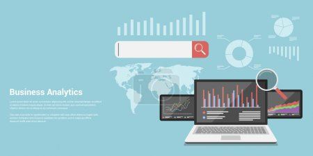 Illustration for Flat style concept banner of business analytics, analytical information search, market analysis, marketing and promotion - Royalty Free Image