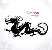 Chinese dragon silhouette skyline black and white design vector