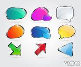 Set glossy volume download button icon Vector design