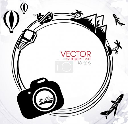Illustration for Background with the camera traveling and vacation concept elements - Royalty Free Image