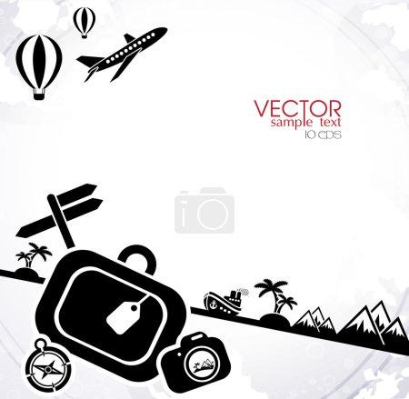 Illustration for Travel black and white background, flat design - Royalty Free Image