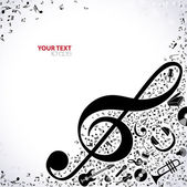 Music background with treble clef and notes vector illustration