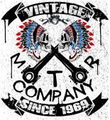 Boho motor company skull typography t-shirt graphics vectors