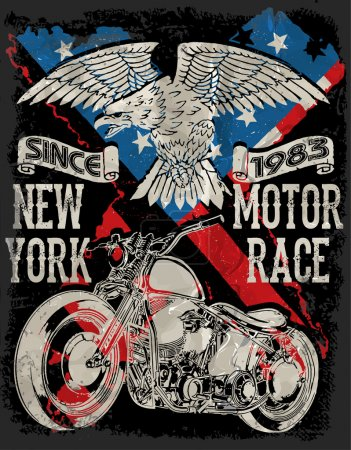 Illustration for Motorcycle typography; vintage motor; t-shirt graphics; vectors - Royalty Free Image