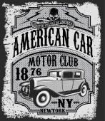 Vintage car tee graphic design