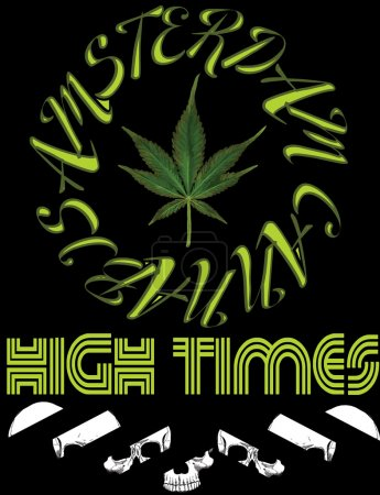 Vector emblem icon marijuana. High Times typography Hemp logo il